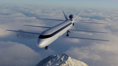 SE Aeronautics' new super-efficient mid-market airliner concept, the SE200, carrying up to 264 passengers with a range of 10,560 miles and reducing CO2 production as measured by per seat kilometer by 80%.