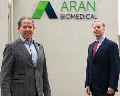 Peter Mulrooney, CEO, Aran Biomedical, with Mark De Faoite, Director of Enterprise, Employment & Property, Údarás na Gaeltachta, announcing the creation of 150 new jobs in Galway, Ireland