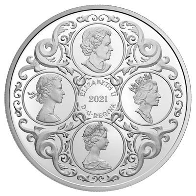La moneda de la colección de plata de la Real Casa de la Moneda de Canadá celebra el 95º cumpleaños de la Reina (anverso)