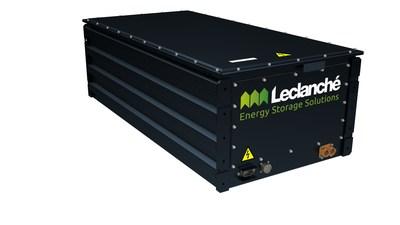 Un pack de baterías de iones de litio Leclanché, similar al que se está utilizando en el proyecto de locomotora de hidrógeno de Canadian Pacific, para alimentar los motores de tracción eléctrica de la locomotora.