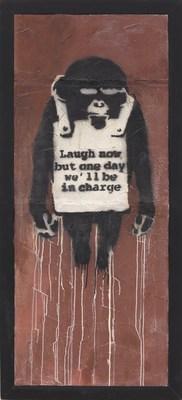Laugh Now Panel A de Banksy, pintura en spray y emulsión en muro en seco de 178,5 x 74cm. Estimación: 22.000.000 - 32.000.000 de dólares de Hong Kong / 2.820.000 - 4.100.000 dólares de los EE.UU. (PRNewsfoto/Phillips)